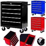 Masko Werkstattwagen - 5 Schubladen, schwarz  Abschließbar  Massives Metall | Mobiler Werkzeug-Wagen ohne Werkzeug | Profi Werkstatt-Wagen | Rollwagen zur Werkzeugaufbewahrung mit Schloss |